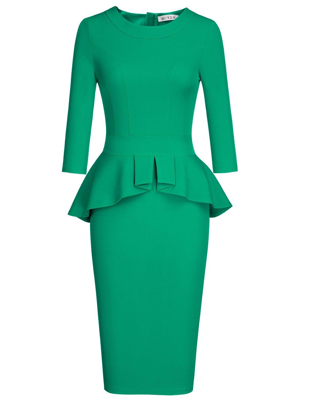 MUXXN Women's Audrey Hebpurn Style Half Sleeve Bridesmaid Dress (Green XL)