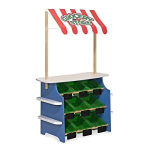 """Melissa & Doug Grocery Store/Lemonade Stand, Play Food, Wooden Play Center, Portable Plastic Bins, Sturdy Construction, 50"""" H x 16.25"""" W x 32"""" L"""