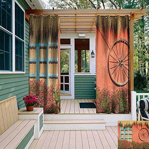 leinuoyi Barn Wood Wagon Wheel, Outdoor Curtain Panel Design, Country House in Ecuador Red Wall Window Summer Flowers Straw Roof, for Patio W108 x L96 Inch ()