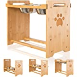 PUPTECK Raised Pet Bowls for Cats and Dogs Adjustable Bamboo Elevated Feeder Stand with 2 Stainless Steel Bowls