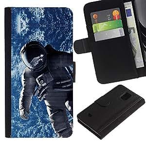 Be Good Phone Accessory // Caso del tirón Billetera de Cuero Titular de la tarjeta Carcasa Funda de Protección para Samsung Galaxy S5 Mini, SM-G800, NOT S5 REGULAR! // Spacesuit Cosmonaut Astronaut Orbit Earth