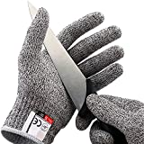 GZQ Work Gloves Cut Resistant Gloves Level 5 Protection Safety Kitchen Cuts Gloves for Oyster Shucking, Fish Fillet Processing, Mandolin Slicing, Meat Cutting and Wood Carving, 1 Pair (Large)