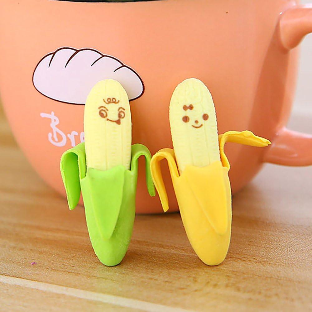 haodou 2/pezzi gomme Carino banane forma gomma da cancellare 4.5/cm lungo novit/à giocattolo per bambini regalo di compleanno e allievo verde giallo