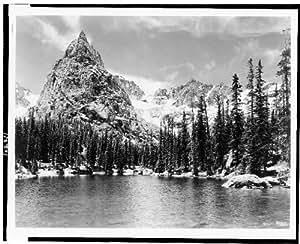 Photo: Lone Eagle Peak,mountains,lake,ponds,pine trees,snow,rocks,Colorado,CO,c1937