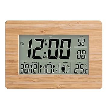 PBQWER LCD Reloj Digital De Pared Alarma Temperatura Multifunción ...