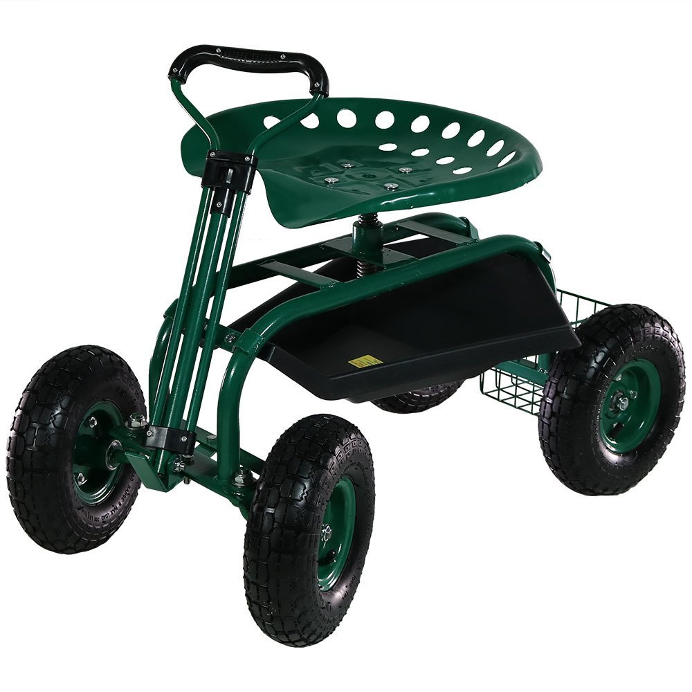 Sunnydaze Garden Cart Rolling Scooter with Extendable Steering Handle, Swivel Seat & Utility Basket, Green