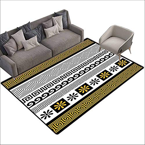 Rug Bathroom Mat Greek Key,Set of Traditional Ornaments from Greece Historical and Cultural Theme,Marigold Black White 80