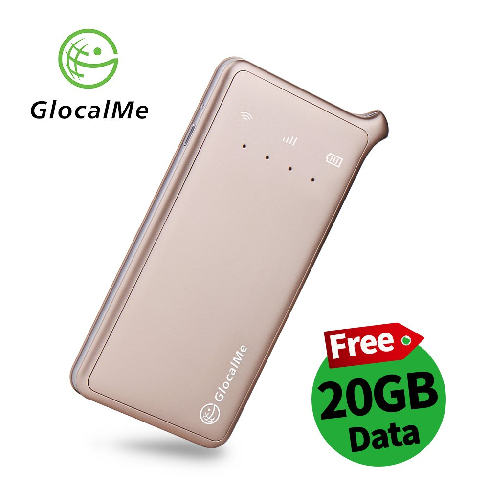 GlocalMe U2 4G LTE Mobile Hotspot with 20GB Data Plan of North America, Global Unlocked WIFI NO SIM Card and Free Roaming for Travel, MIFI Device for iPhone, Samsung, iPad, Tablet and Laptops(Gold) by GlocalMe