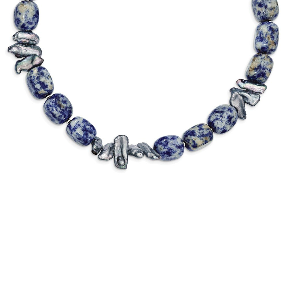 Best Designer Jewelry Sterling Silver Sodalite & Grey FW Cultured Pearl Necklace