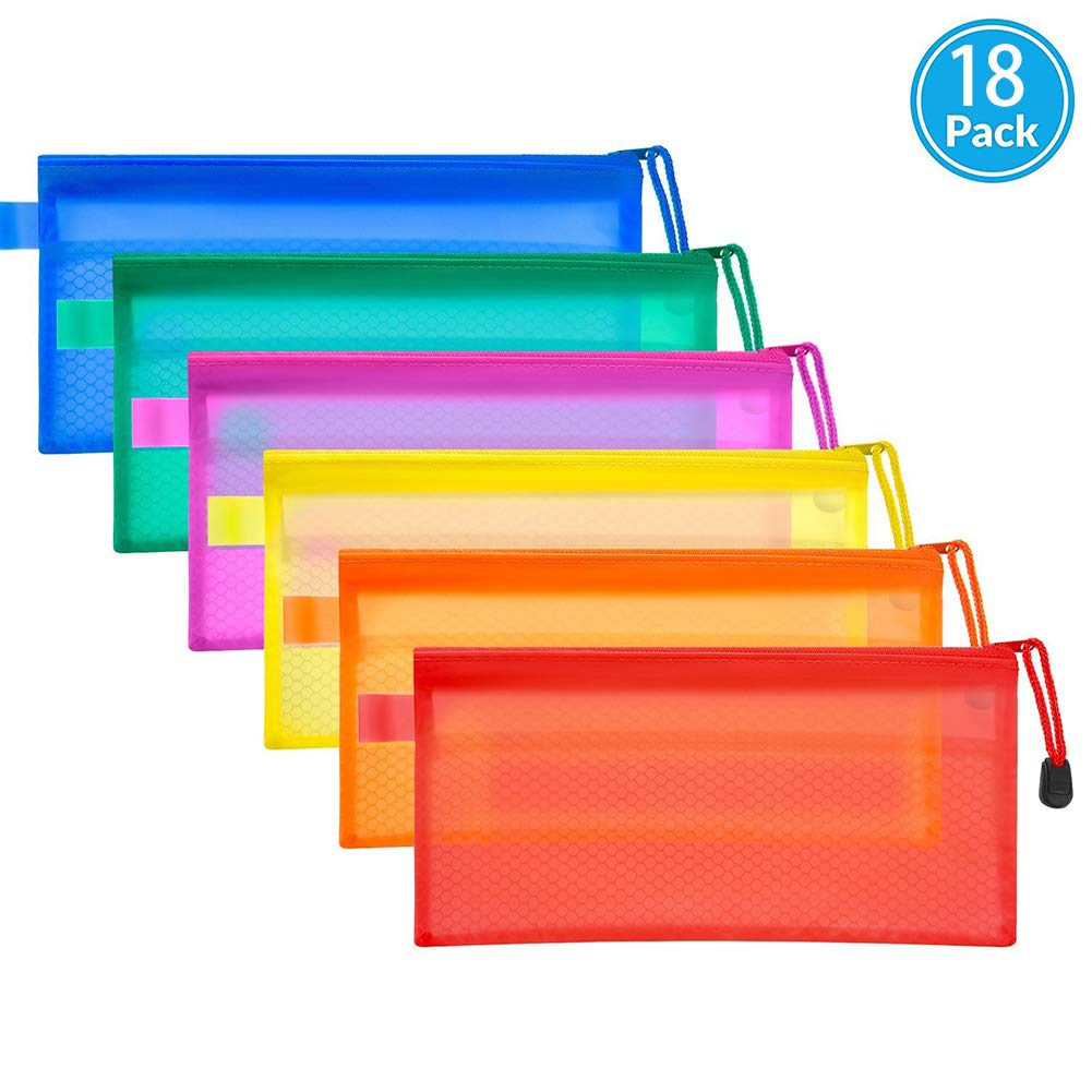PVC Zipper Mesh Pouch 18 Pieces 6 Colors Waterproof PVC Double Layer for Student Business Document Organizer and Office Stationery Storage