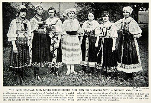 1938 Print Czechoslovakian Women Traditional Dress Costume Embroidery View XGGD4 - Original Halftone (Czechoslovakian Costumes)