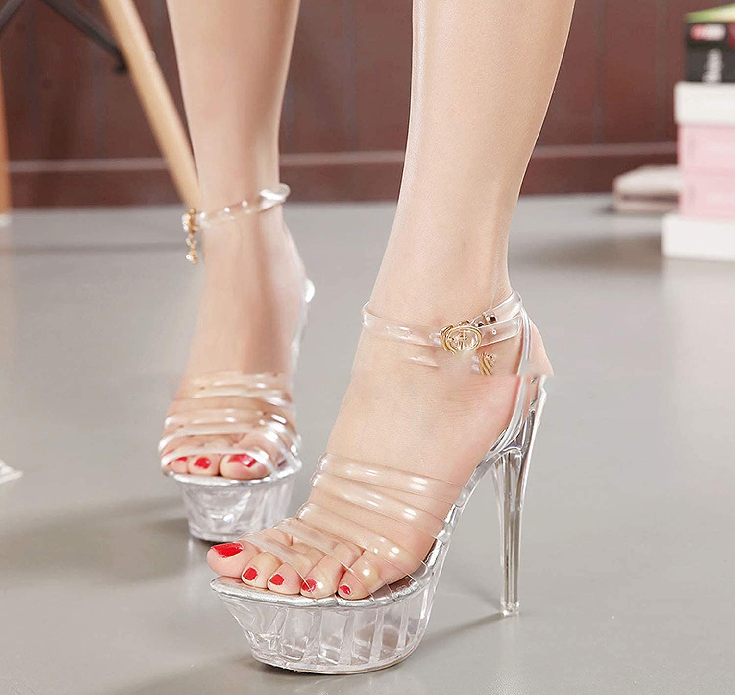 Dream-catching Super high-Heeled Stage Show Sandals Transparent Crystal high-Heeled Shoes Womens Shoes