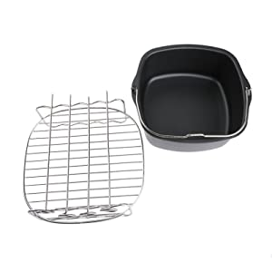 2 PCs Air Fryer Accessories, Air Fryer Non-Stick Baking Dish & Double Layer Rack With 4Pcs Skewers, Air Fryer Accessories