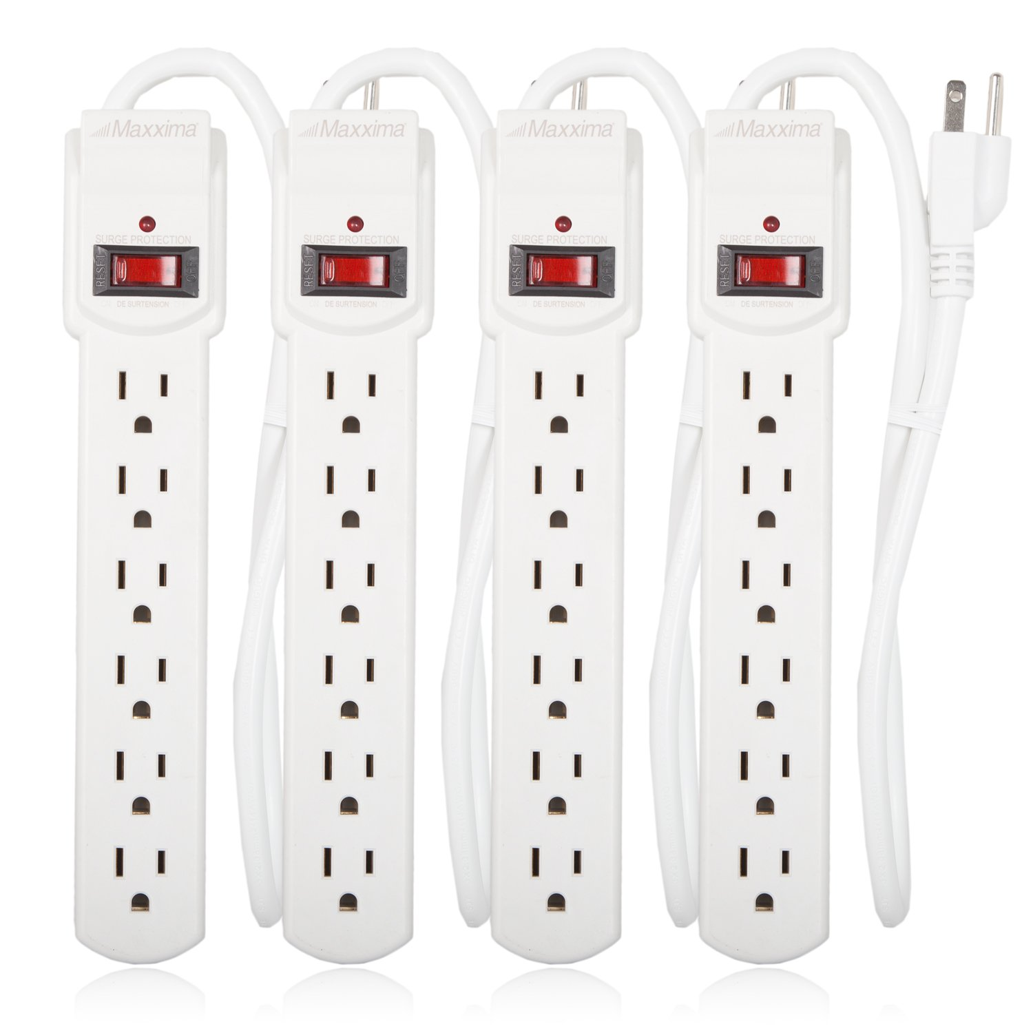 Maxxima 6 Outlet Power Strip Surge Protector 300 Joules, 2FT Cord, Switch (4 Pack)