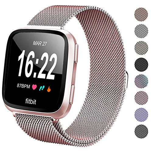 Deyo Compatible Fitbit Versa Bands Women Men,Stainless Steel Milanese Loop Metal Replacement Bracelet Band with Magnetic Closure Accessories Wristbands Compatible Fitbit Versa Smartwatch(Rose Gold S)