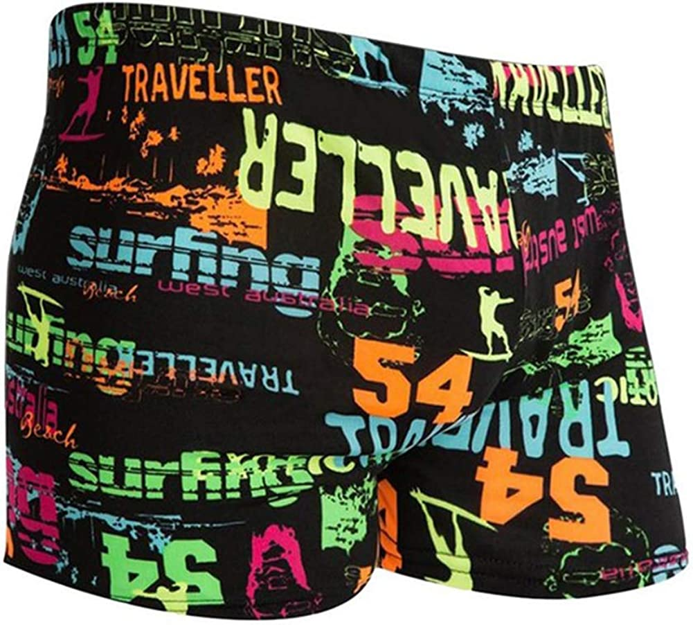 Blaward Mens Beach Swim Trunks Breathable Graffiti Shark Lightweight Briefs High Elastic Underwear Panties for Swimming Pool Cyberpunk Style for Bank Holidays