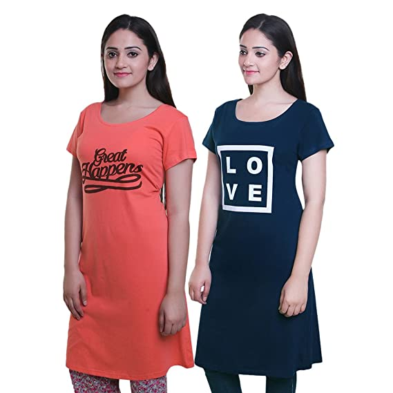 83afe28fb7dc TRAZO Printed Round Neck Half Sleeve Long Cotton Coral & Navy T Shirts for  Women (