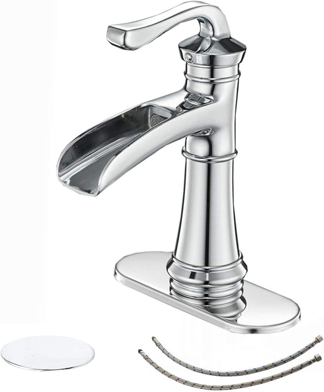 BWE Bathroom Sink Faucet Chrome with Drain Assembly and Supply Hose Lead-free Single-Handle Single Hole Waterfall Bathroom Faucet Deck Mount Lavatory Mixer Tap