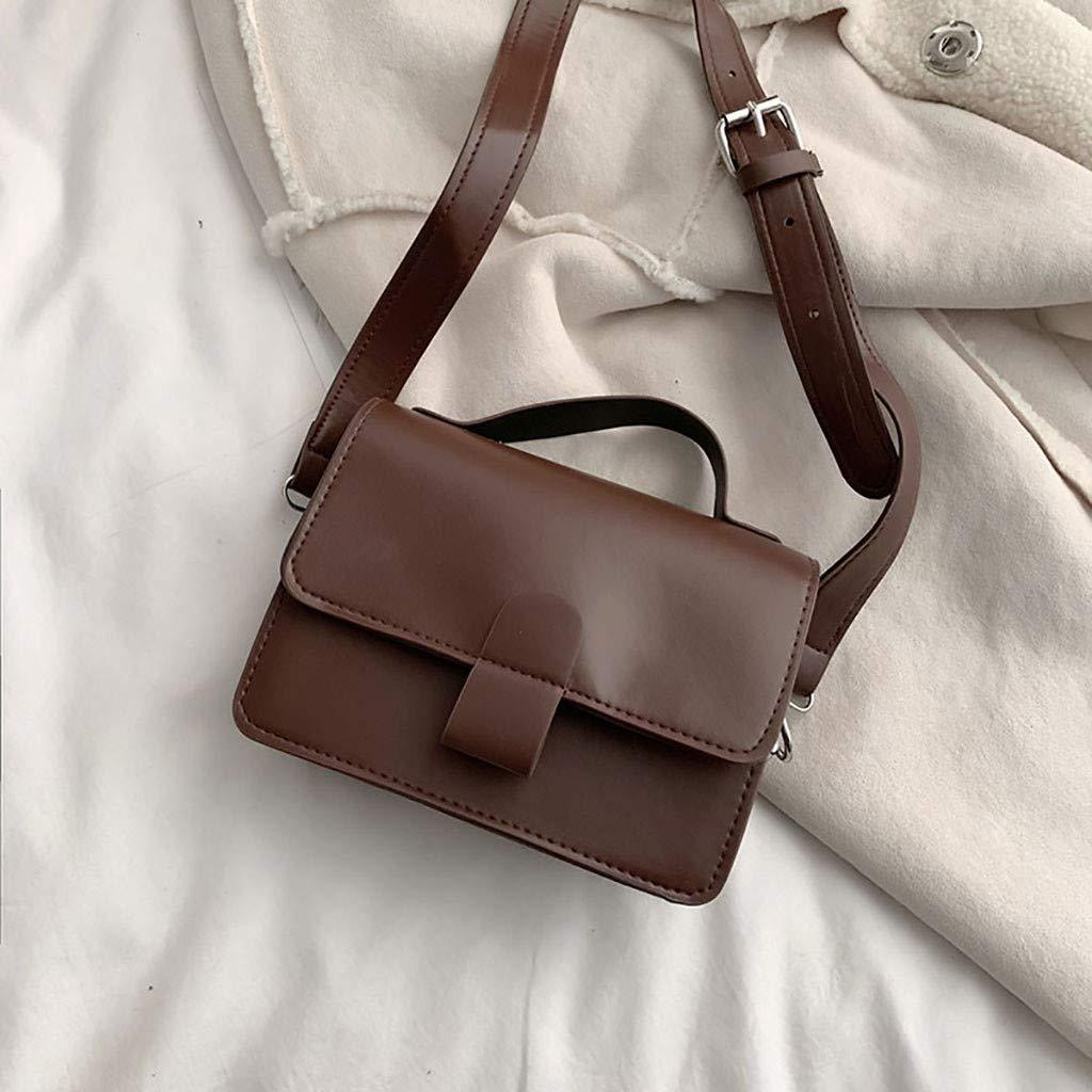 Retro Oil Skin Small Square Bag,Shoulder Slung Handbag,for Traveling,Shopping,Working or Dating,Tourism Brown