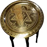 Cheap Moroccan Engraved Star David Brass 13″ Tray Top Carved Wood Folding Table