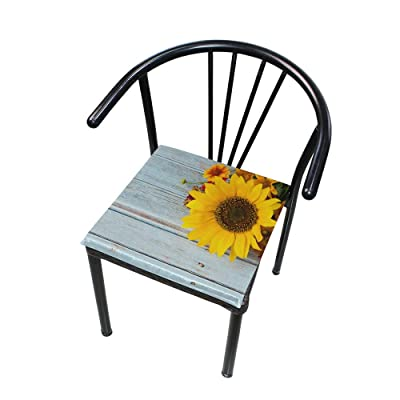 FICOO Home Patio Chair Cushion Sunflower Wooden Board Square Cushion Non-Slip Memory Foam Outdoor Seat Cushion, 16x16 Inch: Home & Kitchen