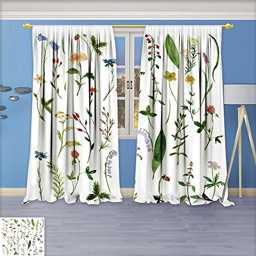 AmaPark Linen Blend Curtains - Set of watercolor drawing herbs and flowers,vector Pattern Print Curtain Window Curtain Panel,108