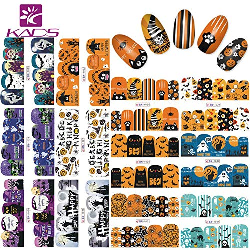 KADS Halloween Nail Art Sticker Set Water Stickers For Nails Water Transfer Decal Beauty For Girls Women and Kids Decoration Nail Tools