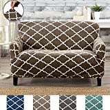 Great Bay Home Modern Velvet Plush Strapless Slipcover. Form Fit Stretch, Stylish Furniture Shield/Protector. Magnolia Collection Strapless Slipcover by Brand. (Loveseat, Walnut Brown)