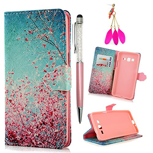 [Galaxy Grand Prime Case -MOLLYCOOCLE[Pink Cherry Blossoms]Stand Wallet Purse Credit Card ID Holders TPU Soft Bumper Premium PU Leather Ultra Slim Fit Cover for Samsung Galaxy Grand Prime] (Lady Law Costume)