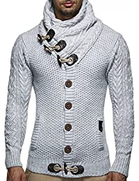 Men's Knitted Turtleneck Cardigan - Medium - Grey