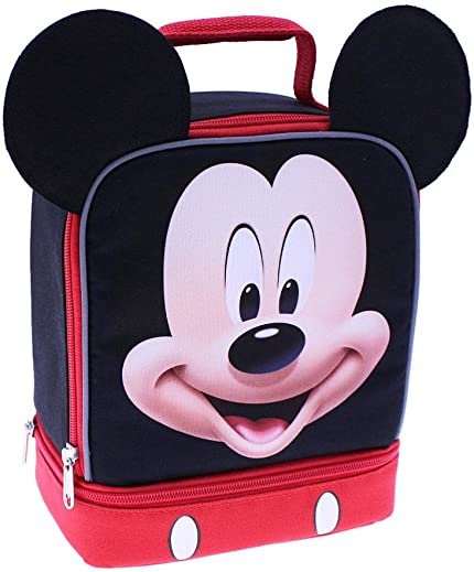 dad49ecb0ab Image Unavailable. Image not available for. Color  Disney Mickey Mouse Dual  Compartment Insulated Lunch Bag