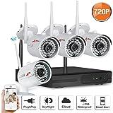 Swinway Systèmes de caméras de sécurité sans fil 4CH WIFI NVR avec 4 caméras de vidéosurveillance en plein air 720P HD haute définition Caméra CCTV Plug and Play NVR Pas de disque dur