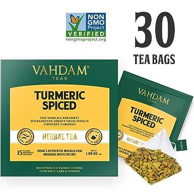 Turmeric Spiced Herbal Tea (30 Tea Bags) | 2018 SOFI Award Winner | INDIA'S  Wonder Spice | Turmeric Powder Blended with Fresh Spices | Turmeric Tea