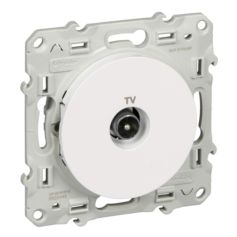 Schneider Odace S520445 - Toma de antena para televisión (con tornillos), color blanco