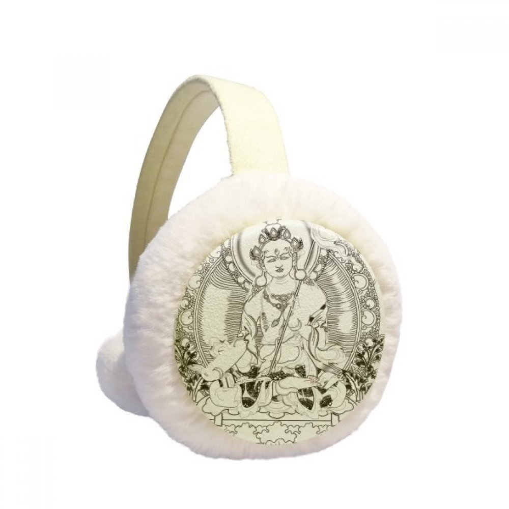 Buddhism Guanyin Chinese Character Figure Winter Earmuffs Ear Warmers Faux Fur Foldable Plush Outdoor Gift