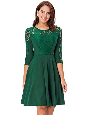 Noctflos Womens Green 34 Sleeve Fit And Flare Lace Cocktail Dress