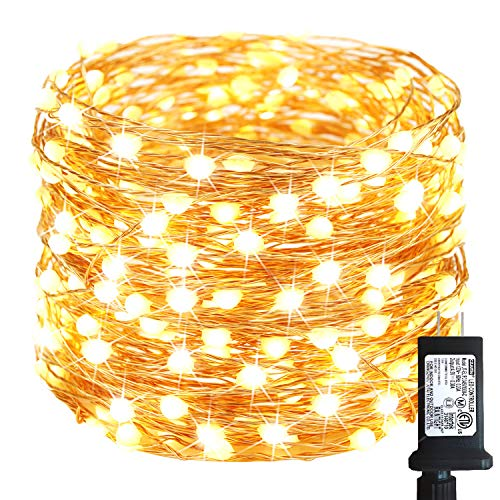 BOSSERN Fairy Lights Indoor Outdoor,Upgraded Lamp Beads Plug in String Lights, 8 Lighting Modes Waterproof Lighting Decorations for Bedroom, Girl's Room, Patio, Garden, Wedding, Party