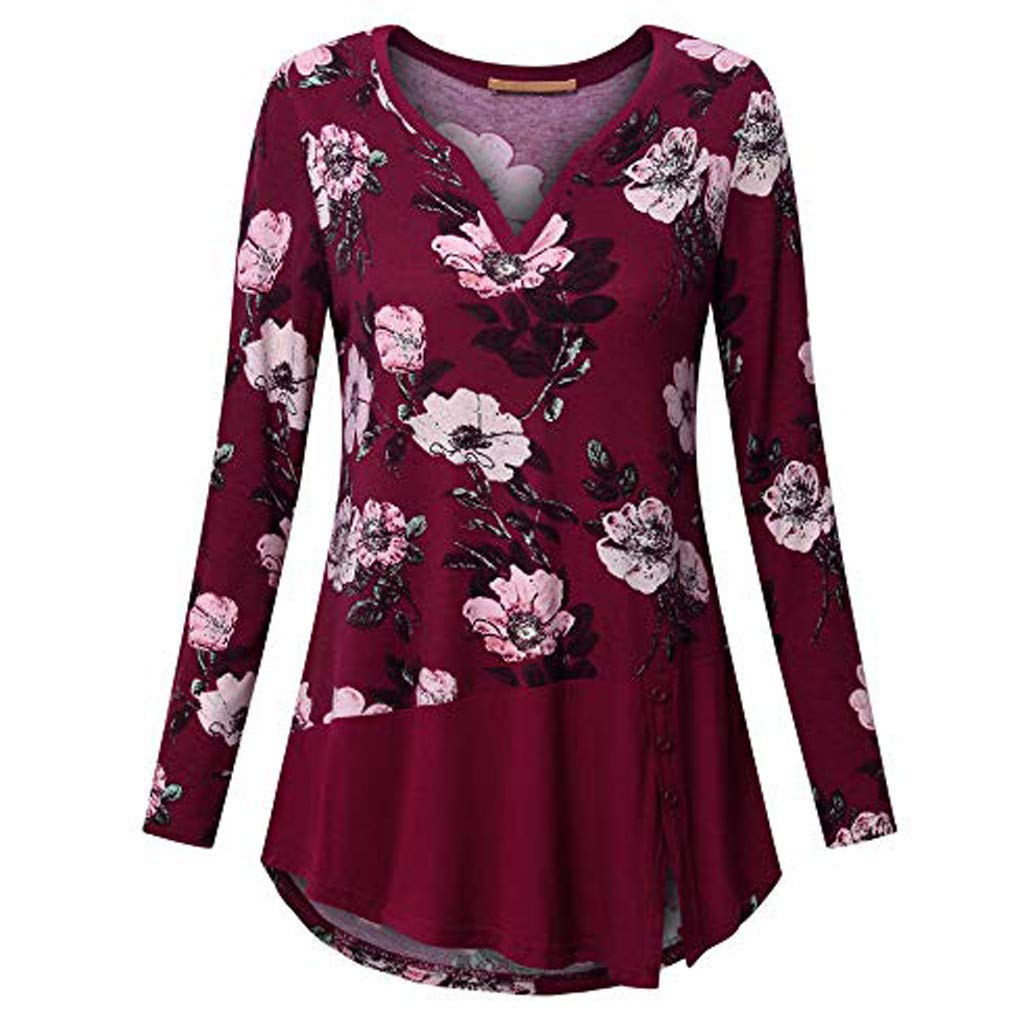 iCODOD Women Plus Size Blouse Long Sleeve Exquisite Floral Print V-Neck Button Pullover Fashion Tops Shirt Casual Tunic at Amazon Womens Clothing store: