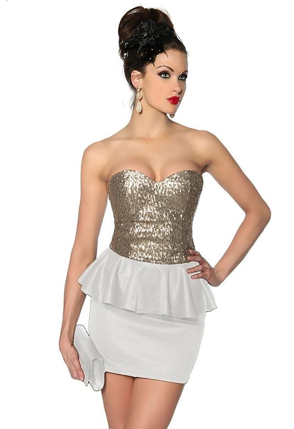 schößchen Fiesta Vestido Mini vestido Nochevieja con lentejuelas Dorado Bandeau Top a12857 - 2: Amazon.es: Ropa y accesorios
