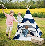 Kids Teepee Tent for Kids, No Toxic Chemicals Added, w/Carrying Case, Navy Children's Teepee Tent for Boys & Girls, Large Enough Tipi Tents for Adults Toddler Baby Boy Adult Children, Reading Nook