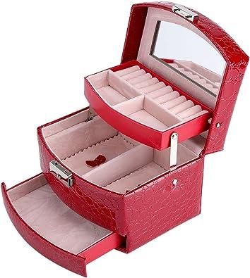 Caja de Joyería de 3 Capas con Espejo y Mango Caja Joyero para ...
