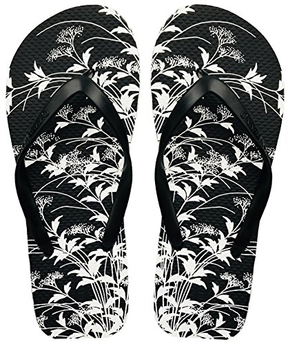Finoceans Women's Sandal Flip Flops Tong Retro Slim Black Foral 5B(M) (Slim Flop Flip Sandals)
