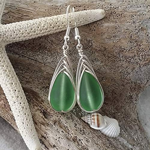 Handmade jewelry from Hawaii, wire braided Peridot green sea glass earrings,