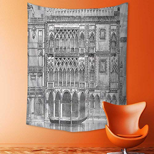 Analisahome Wall Tapestry Home Decor 19th Century Engraving of Grand Canal Venice Monument Landmark Illustration Black White Tapestries for (19th Century Tapestry)