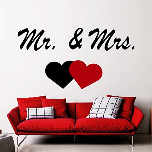 AND MRS Couple Wall Words Lettering Quote Decal Sticker Rustic Decor MR