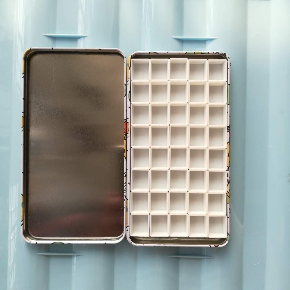BOOYEE Empty Watercolor Tins Palette Paint Case Metal Box with 40 Pcs Half Pans Carrying Magnetic Stripes on The Bottom