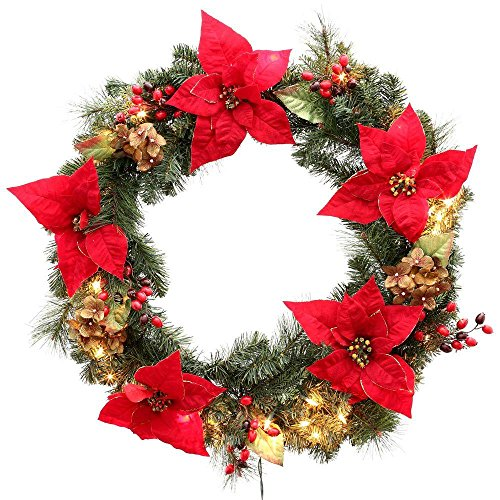 Martha Stewart Living Winterberry 32 in. Pre-Lit Red Poinsettia Artificial Wreath with Mini White ()