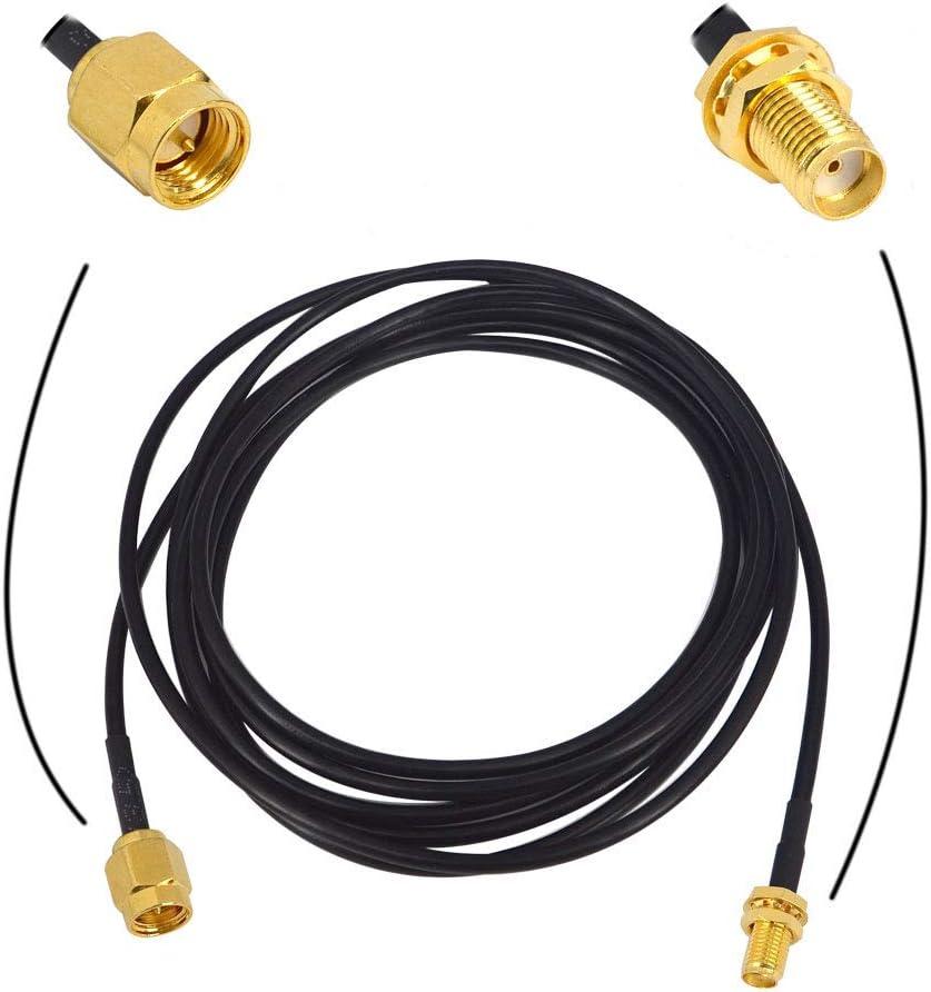BOOBRIE Cable de Antena WiFi SMA Macho a SMA Hembra RG174 2M Cable de Puente SMA Cable de Extensión del Enrutador WiFi 3G 4G LTE Antena WiFi de Baja ...