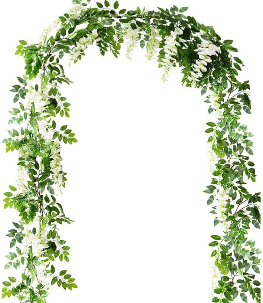 Bird Fiy Artificial Flower Hanging Vine Silk Wisteria Garland Hanging Rattan with Green Ivy Leaves for Wedding Garden Home Party (White / 6 Flower)