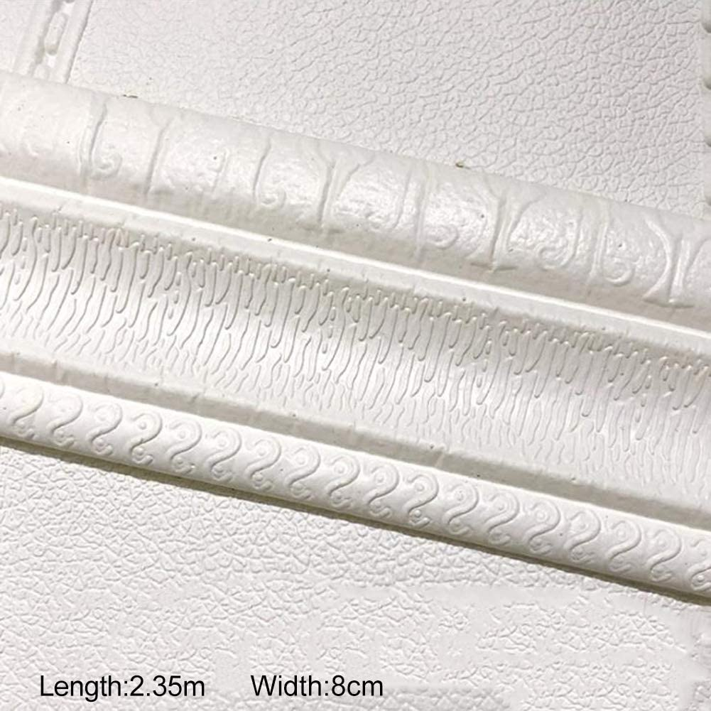 PowerBH Tira tridimensional de ribete de pared autoadhesiva tridimensional Sello impermeable a prueba de humedad Pared lateral Marco de puerta L/ínea de cintura Decoraci/ón de la pared del hogar